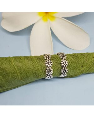 SILVER 925 FLOWER OXI TOE RING