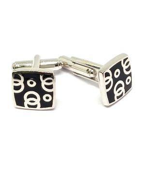 Silver square cufflink