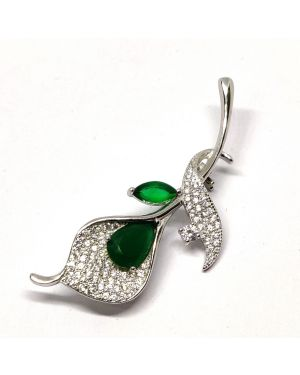 Silver Saree Pin green