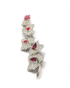 Silver flower red saree pin