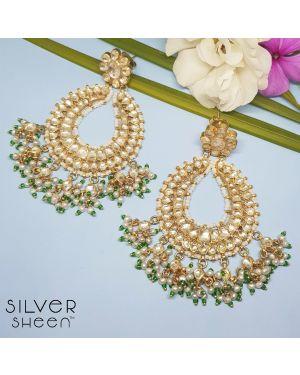 Silver 925 Kundan Earring