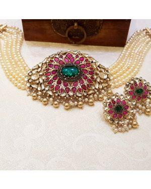 Silver Kundan Necklace