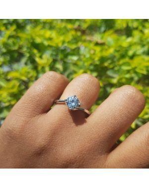 Silver rhobus single stone ring