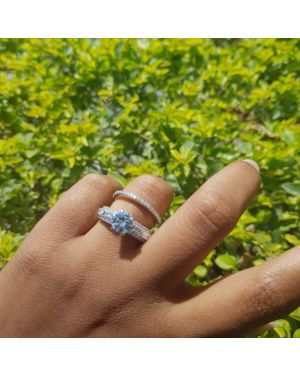 Silver Double round stone ring